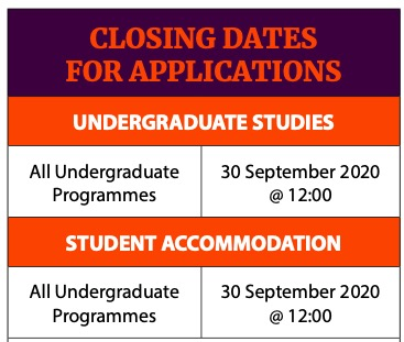 UJ Applications Deadlines Dates