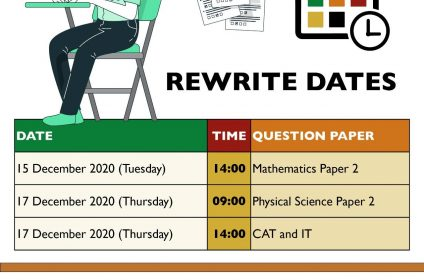 Maths and Physical Sciences Matric rewrite Dates 2020 Timetable